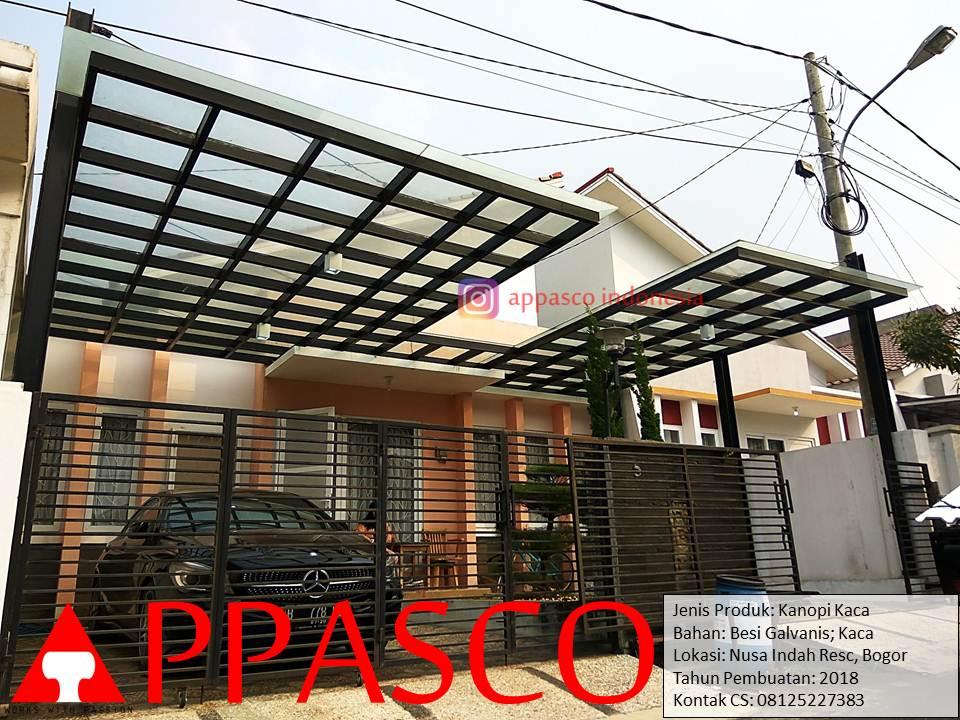 Kanopi Modern Cantik Atap Kaca di Nusa Indah Residence Bogor