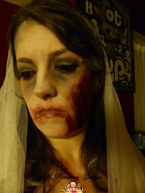 Maquillaje halloween novia zombie Oriflame 7