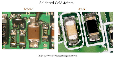 Soldered Cold Joints on Cell Phone PCB include ICs making joints harder