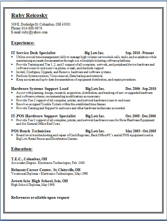 IT Service Desk Specialist Sample Resume Format in Word Free Download