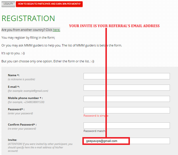 Nigeria MMM Registration Inviters Email Address