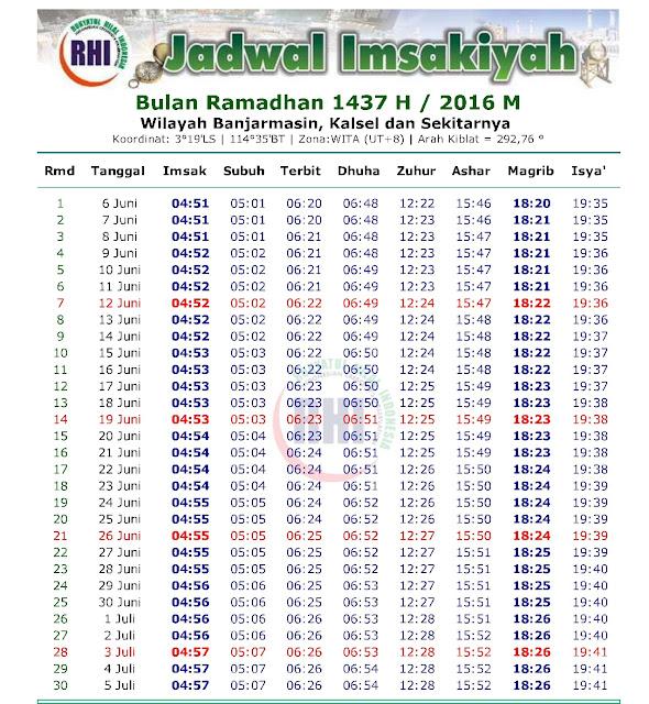 Jadwal Imsakiyah 2016