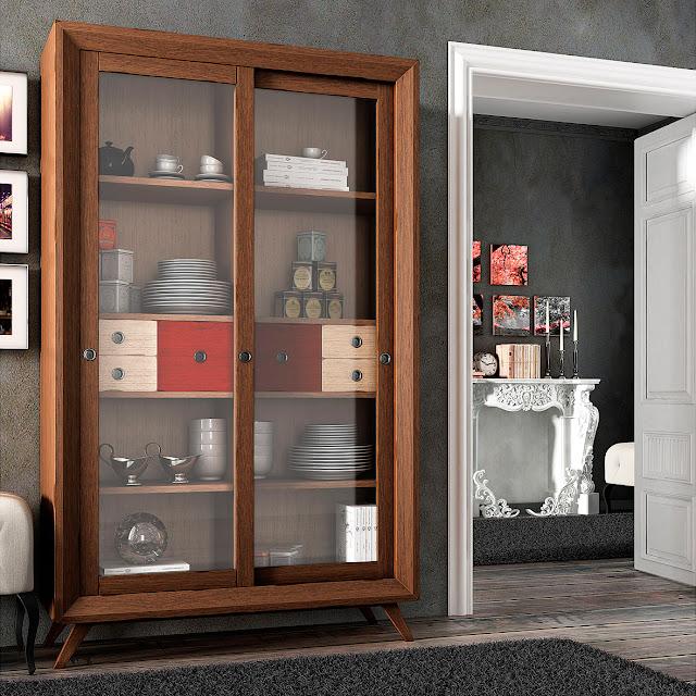 Muebles de comedor vitrinas vintage para ordenar el comedor - Vitrina de comedor ...