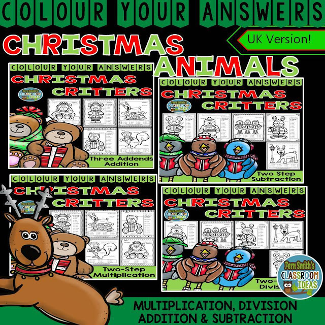 Colour By Numbers Christmas Two-Step Math Problems Bundle