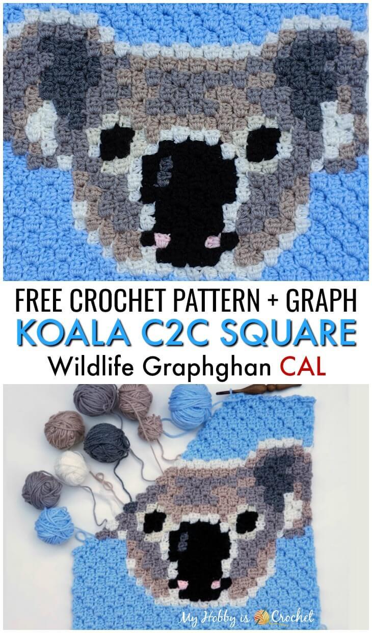 Koala C2C Square - Free Crochet Pattern + Graph