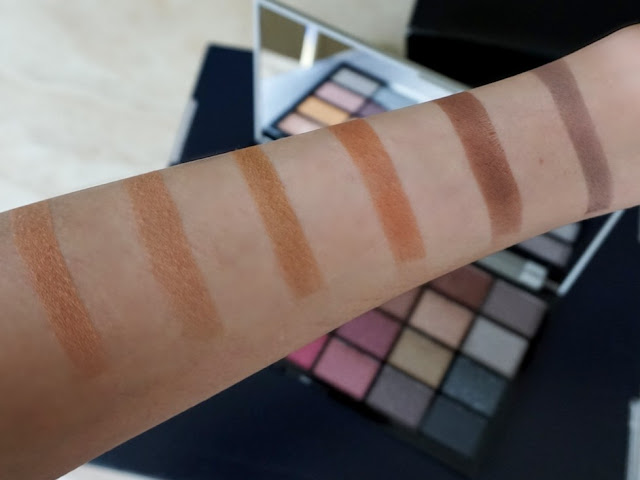 first row swatches in natural light Life on the dancefloor Afterparty palette by makeup revolution