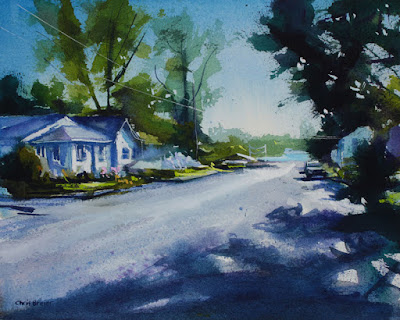 A watercolor painting of Ontario Street, in Olcott NY.