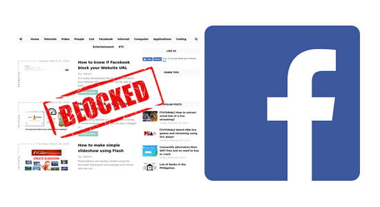 Facebook blocked website URL