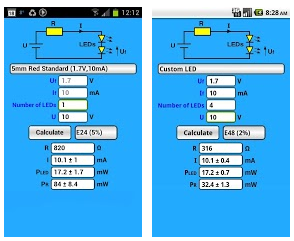 Elektor LED resistor Android calculadora.