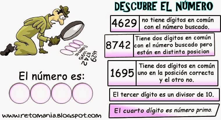 Descubre el número, Retos matemáticos, Desaf�os matemáticos, Problemas matemáticos, Retos para pensar, Problemas de lógica