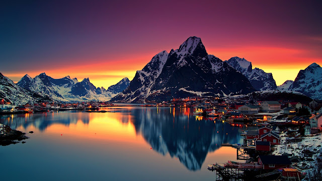 Reine, Lake, Mountains, Norway