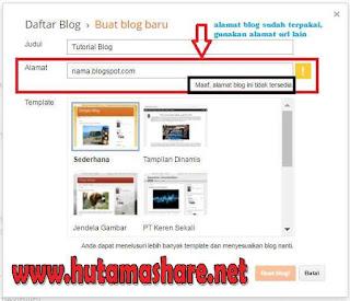 Halaman Buat Blog Baru Blogspot