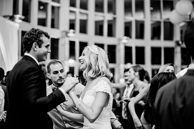 bride and groom dance- black and white