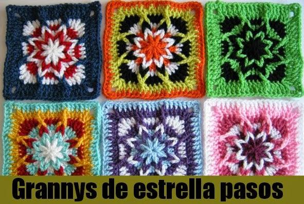 Grannys de Estrella en Crochet Pasos