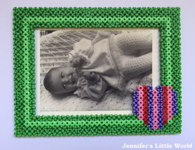 Hama bead frame with stripy beads