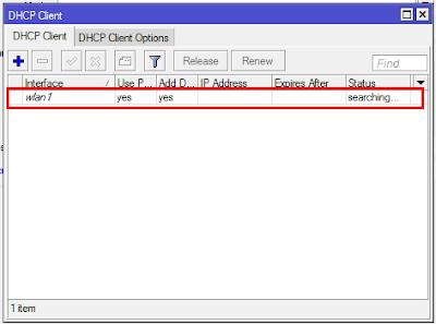 Setting DHCP Client mikrotik