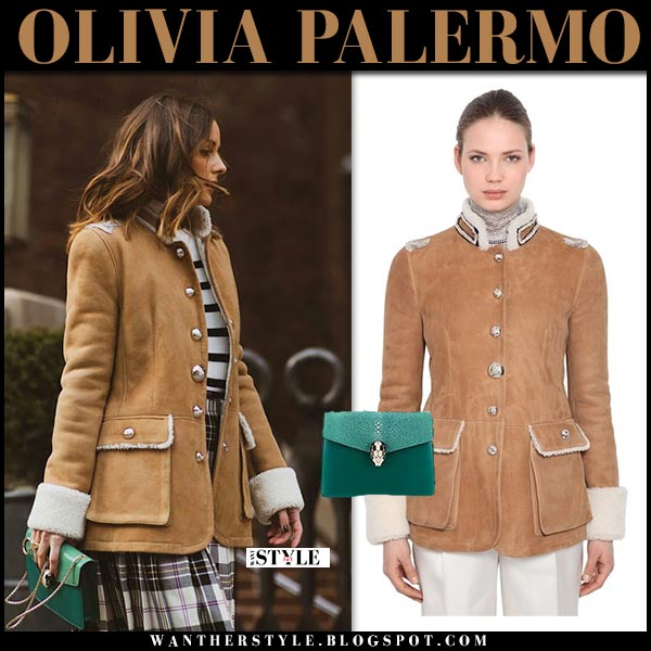 Olivia Palermo in brown shearling ermanno scervino jacket with green bvlgari bag and plaid skirt  winter style december 2018