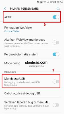 Mengaktifkan mode pilihan pengembang dan usb mode debugging di pengaturan samsung galaxy j5 2016 android