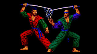 Captura de Second Samurai para Amiga, 1993. Se muestran dos samuráis con catanas; el de la derecha parece lanzar una rayo eléctrico desde los dedos de su mano