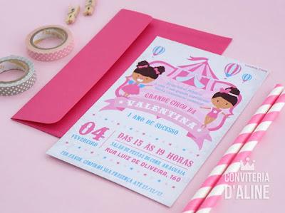 convite festa circo aniversario rosa