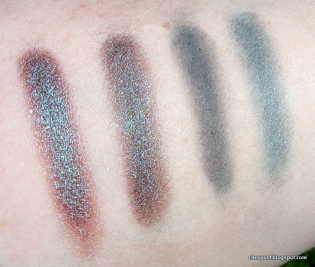 Swatches in direct sunlight: Wet N Wild Comfort Zone duochrome, Wet N Wild Plaid to the Bone duochrome, Makeup Geek Time Travel and Wet N Wild Plaid to the Bone