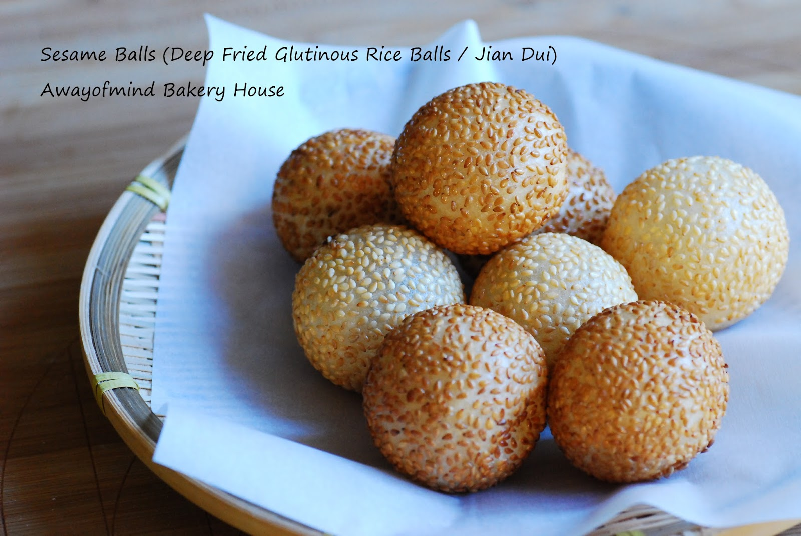 Awayofmind bakery house sesame balls deep fried glutinous rice 15 cups glutinous rice flour 80g sugar 100ml water 10ml more for adjusting include water for starter dough 12 tsp baking powder ccuart Images