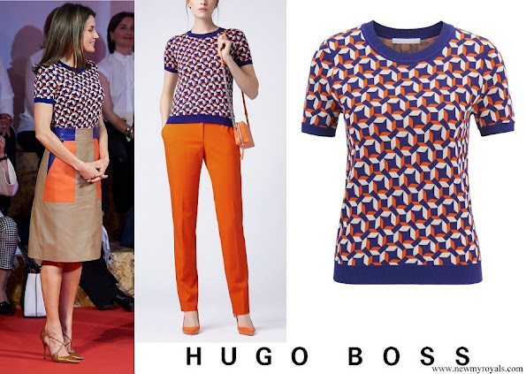 Queen Letizia wore HUGO BOSS Felizabeth Short sleeved sweater