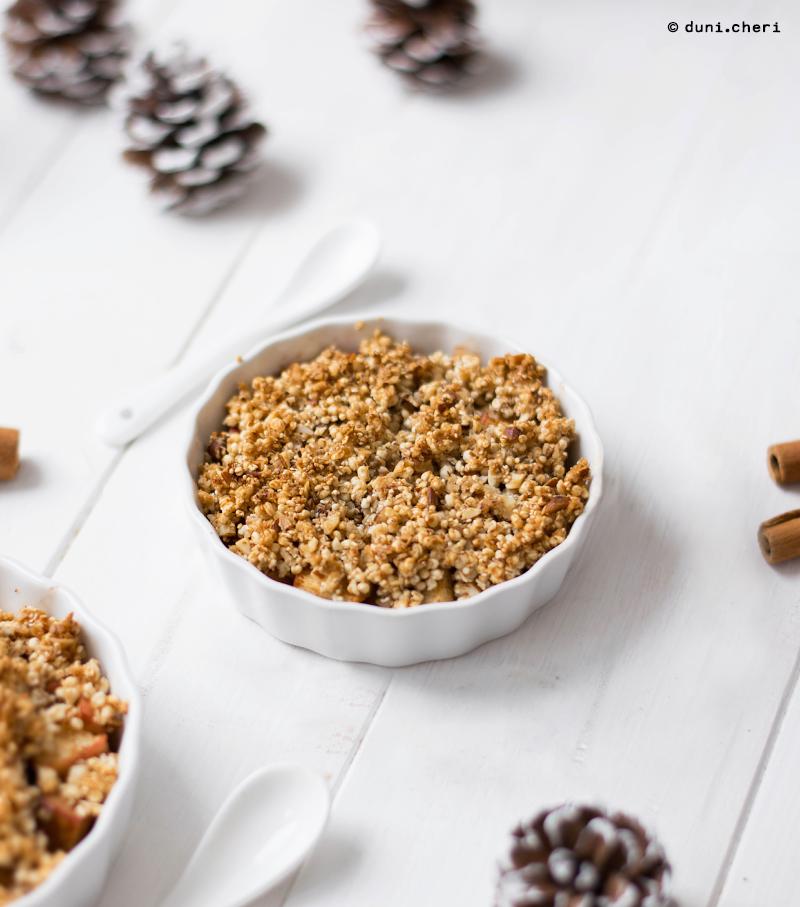 Apple Crumble Kokosöl Quinoa Vegan gesund Rezept