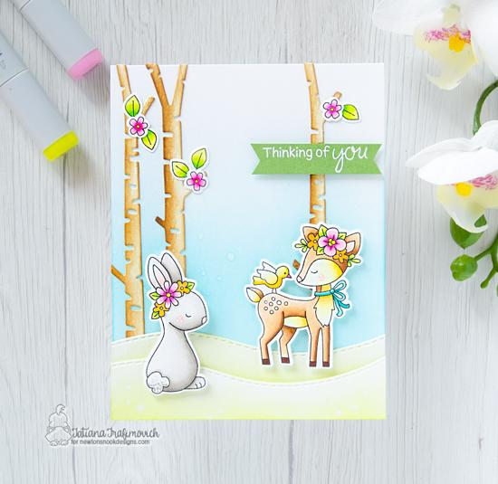 Spring Deer and Bunny card by Tatiana Travimovich | Woodland Spring Stamp Set, Land Borders Die Set and Forest Scene Builder Die Set by Newton's Nook Designs #newtonsnook #handmade