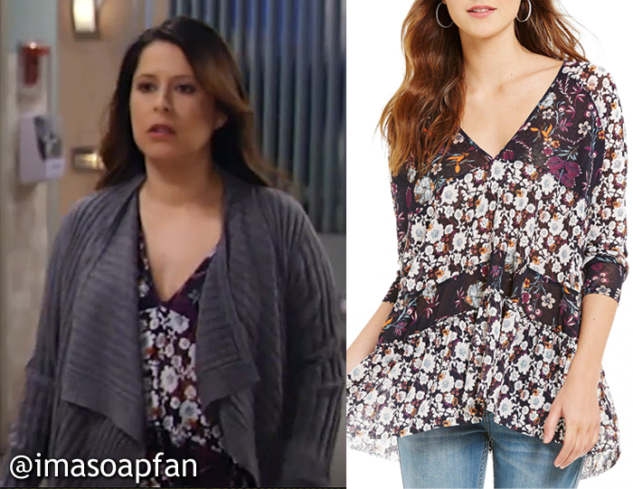 Robin Scorpio-Drake, Kimberly McCullough, Floral Print Tunic, Free People, GH, General Hospital