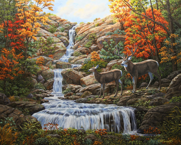 Painting Forest Waterfall
