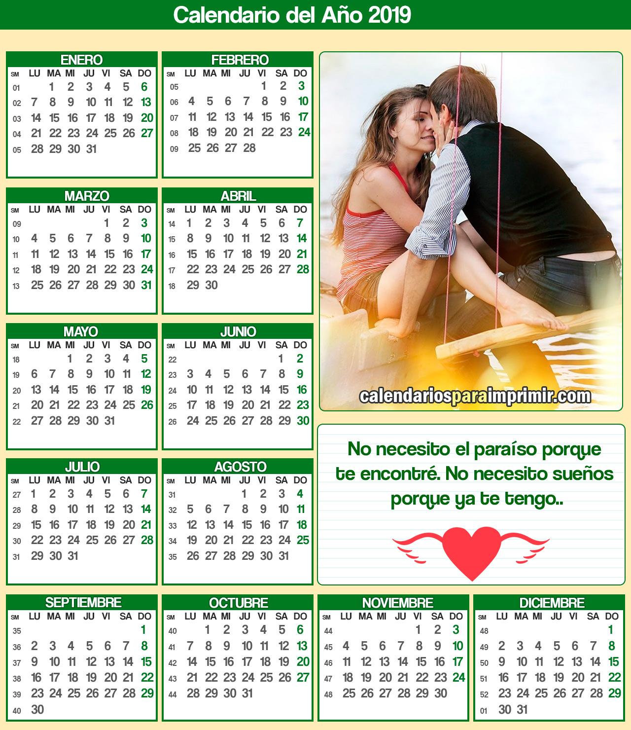 calendario 2019 para imprimir amor