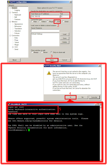 Establecer conxión ESXi Shell Command Line Interface