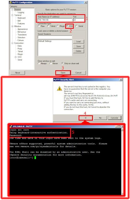 Establecer conxión ESXi Shell Command Line Interface