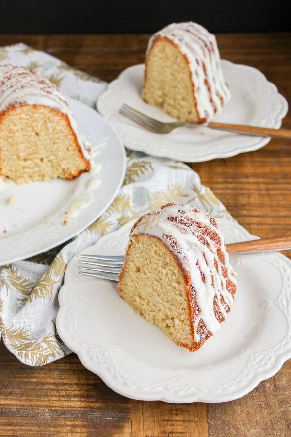 Celebrate the holidays with this festive Eggnog Bundt Cake! This cake is simple to make yet tastes so divine, it's perfect for all of your holiday parties!