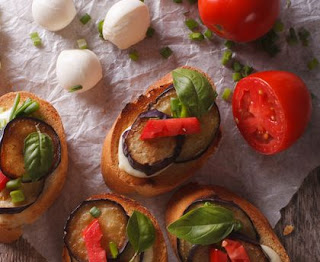 Eggplant, tomato and mozzarella toast