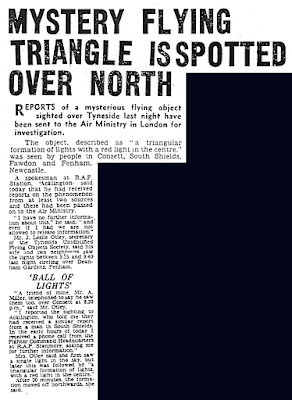 Mystery Flying Triangle is Spotted Over North - Newcastle Evening Chronicle 9-9-1960