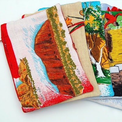 Zipper Pouch: Christmas Bells (red, yellow, green) Australia Flower Vintage Linen Tea Towel