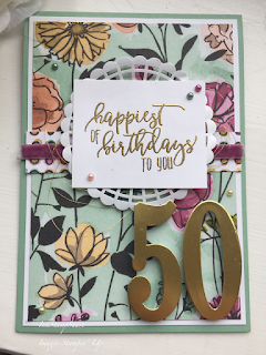 50th birthday card, Share What You Love, Stampin Up