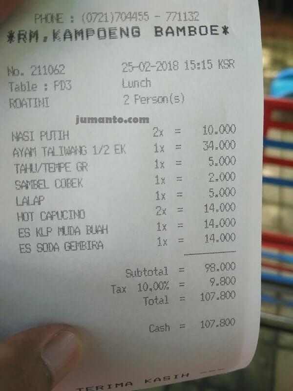 harga makanan di kampung bambu lampung