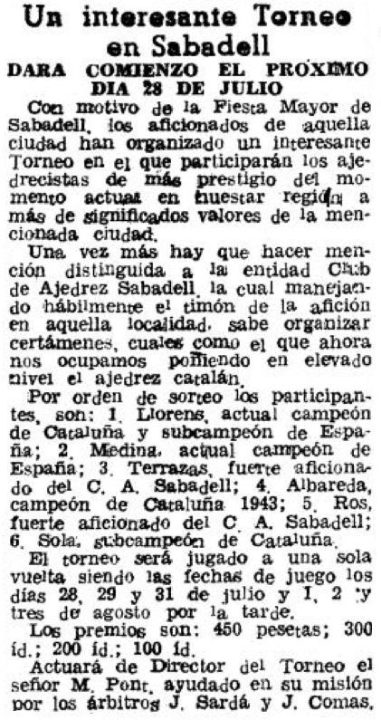 Recorte de El Mundo Deportivo, 19 de julio de 1944