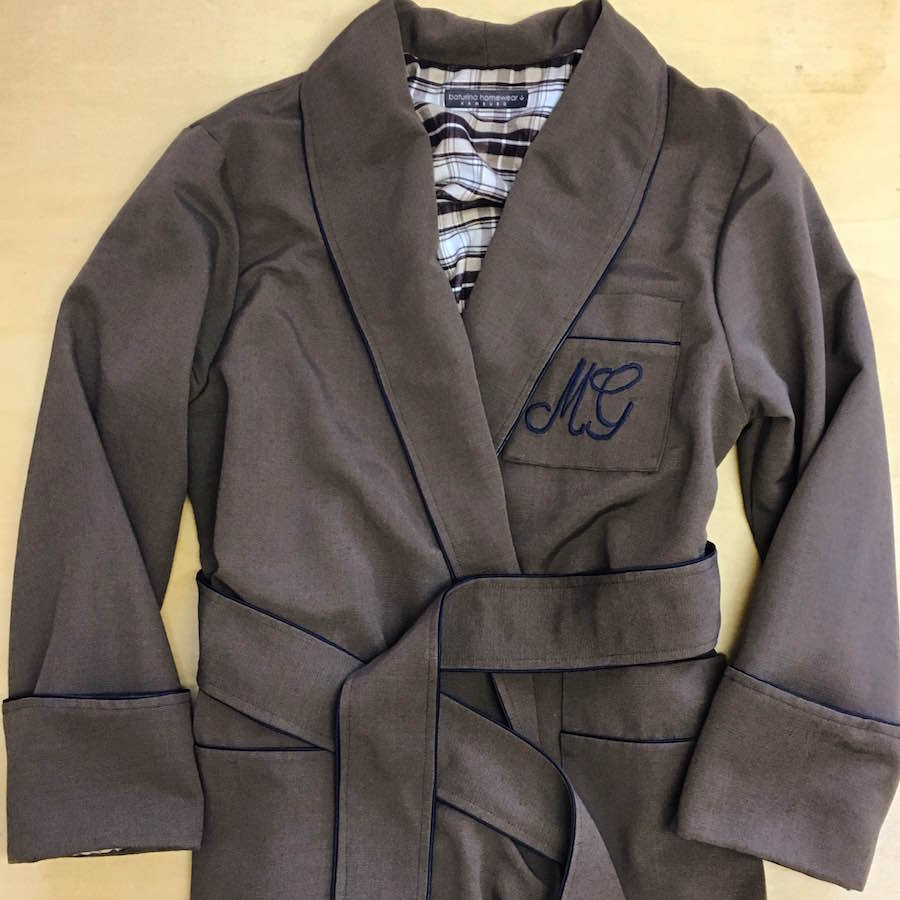 Satin Dressing Gown: Long Brown Silk Men's Dressing Gown Lined With Warm Plaid
