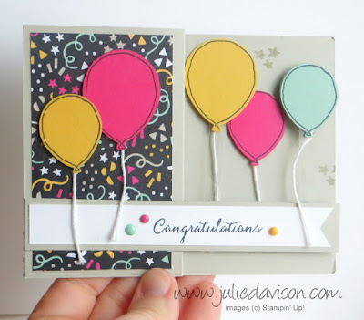 VIDEO: Stampin' Up! Balloon Celebration Double Z Fold Floating Balloon Card ~ www.juliedavison.com