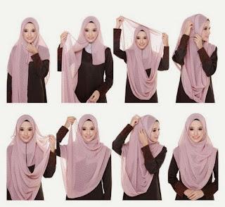 tutorial memakai hijab pashmina untuk wajah bulat