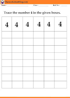 number4  tracing worksheet