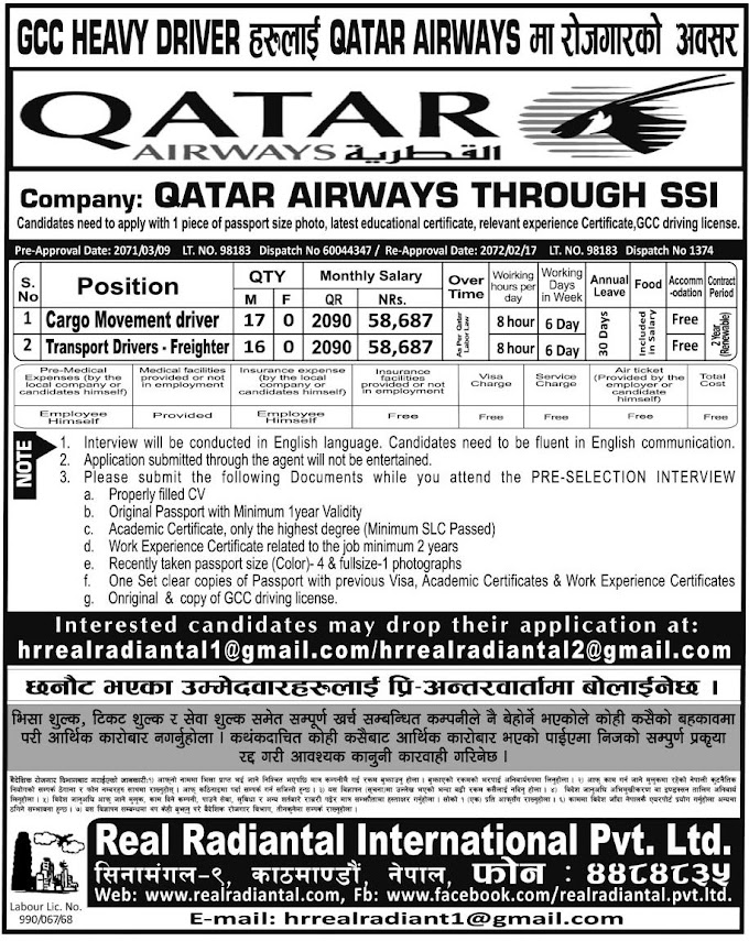 QATAR AIRWAYS JOB VACANCY