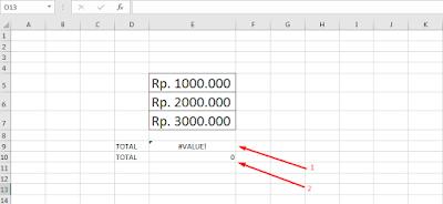 Rumus menjumlahkan uang di Excel