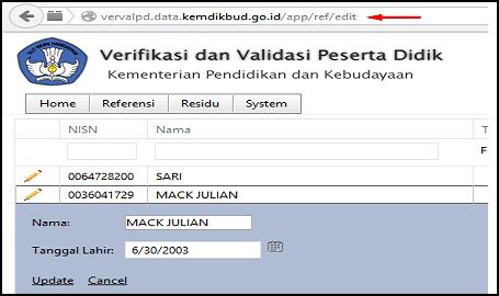 Cara Edit Data Verval (Verifikasi dan Validasi) NISN
