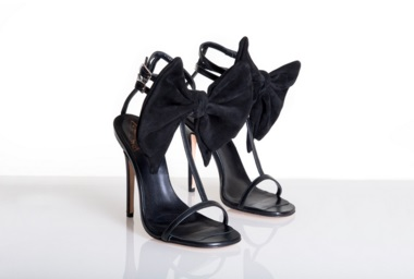 "Becki Oakley ""Julie"" Sandal : Black Stiletto Barely There Heels With Removable Bow"