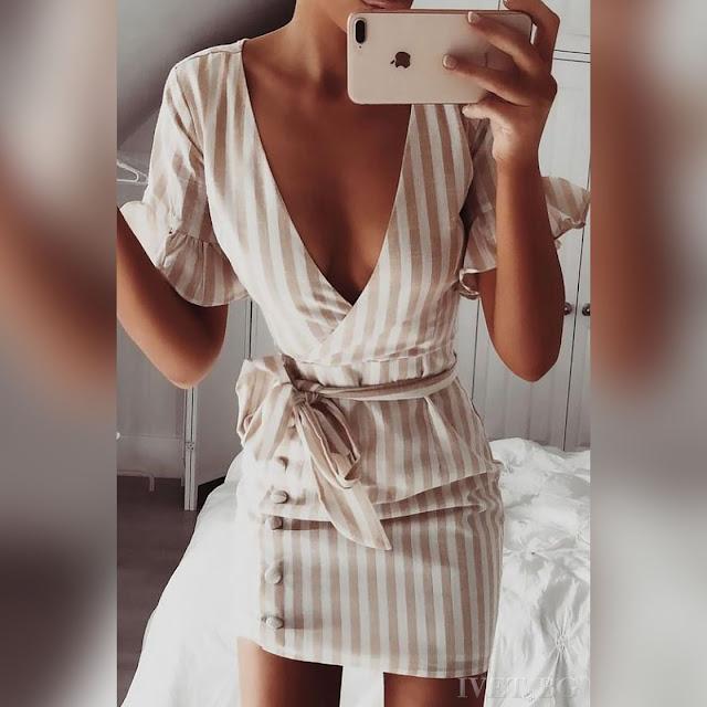 Μοντέρνο κοντό άσπρο με μπεζ φόρεμα AMEDEA